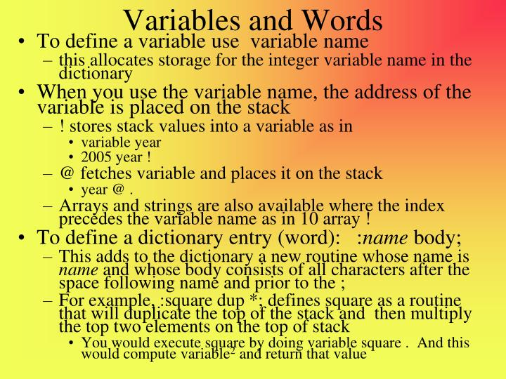 Variables and Words