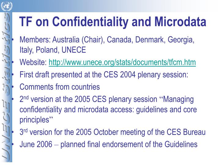TF on Confidentiality and Microdata