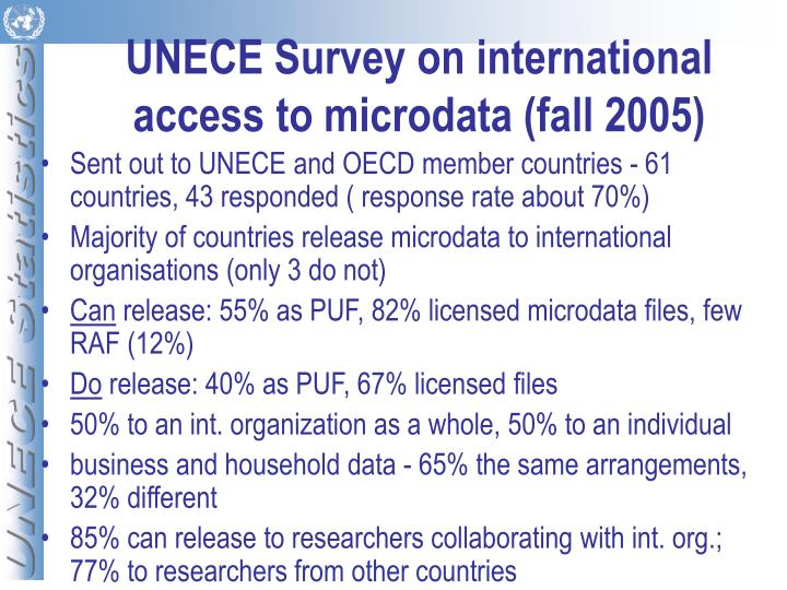 UNECE Survey on international access to microdata (fall 2005)