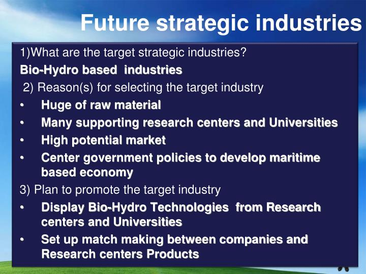 Future strategic industries