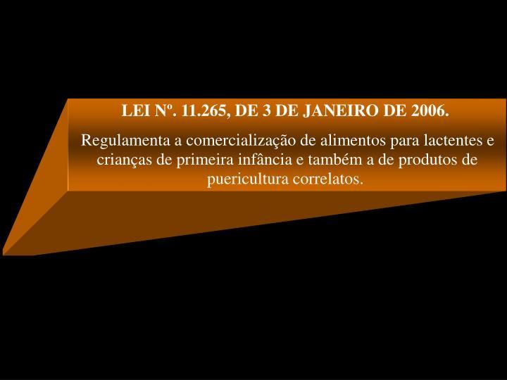 LEI Nº. 11.265, DE 3 DE JANEIRO DE 2006.