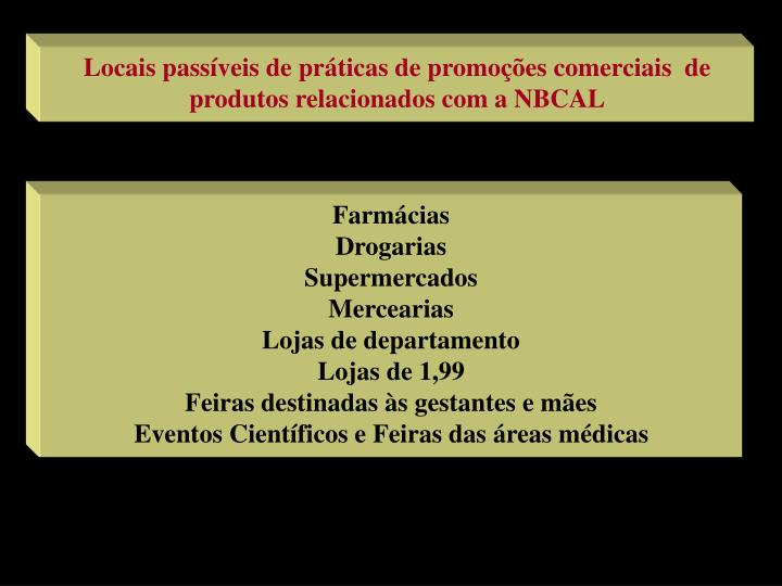 Locais passíveis de práticas de promoções comerciais  de produtos relacionados com a NBCAL