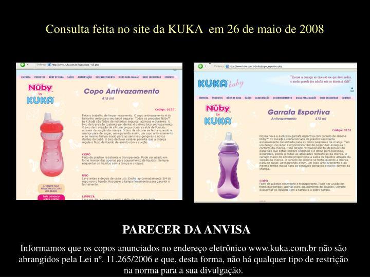 Consulta feita no site da KUKA  em 26 de maio de 2008