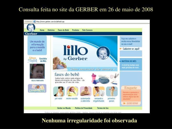 Consulta feita no site da GERBER em 26 de maio de 2008