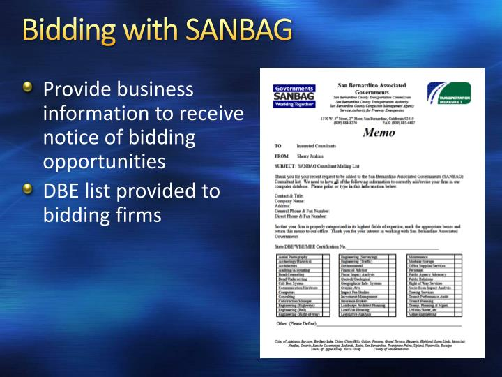 Bidding with SANBAG