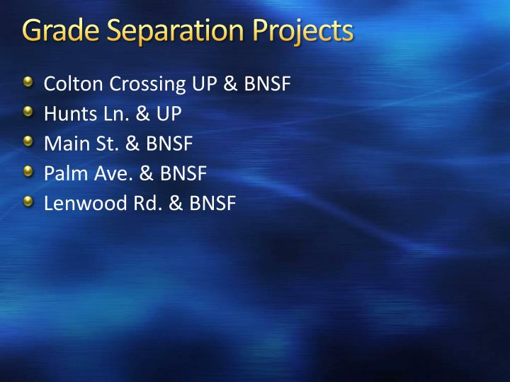 Grade Separation Projects