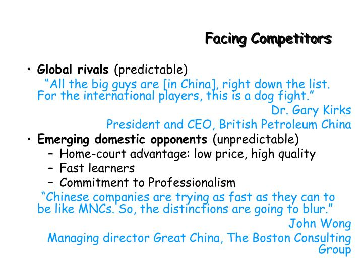 Facing Competitors