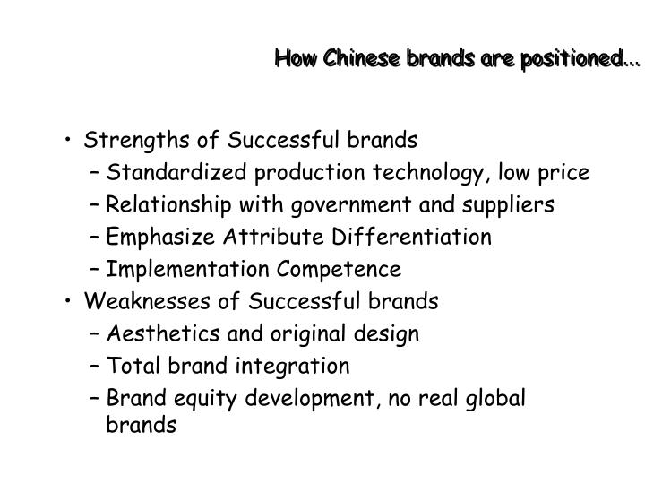 How Chinese brands are positioned