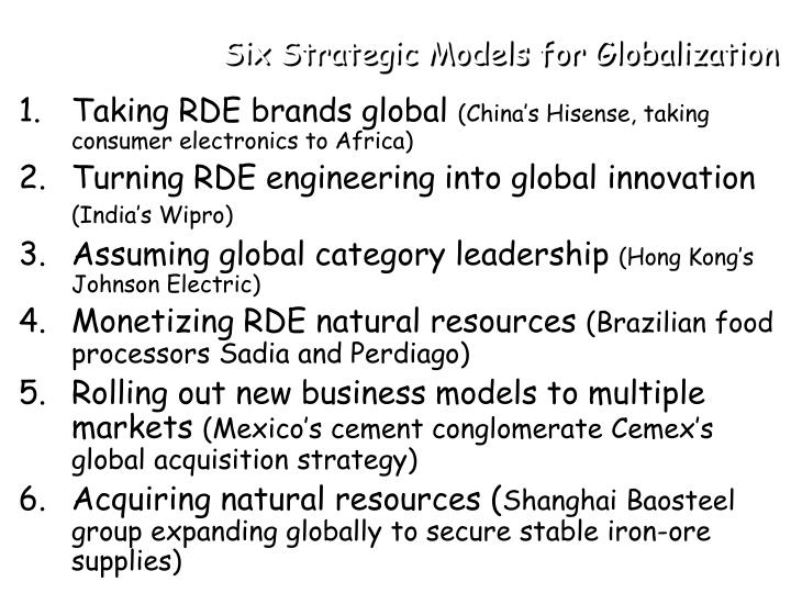 Six Strategic Models for Globalization