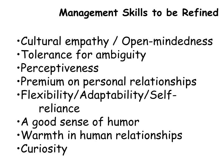 Management Skills to be Refined