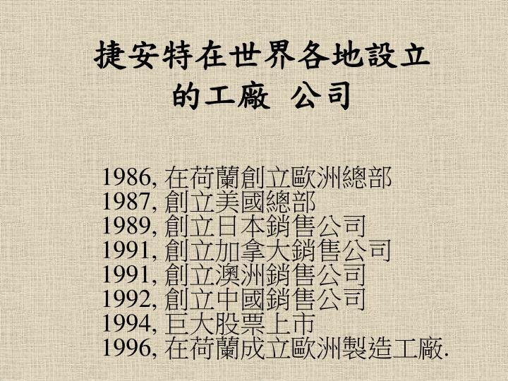 捷安特在世界各地設立的工廠 公司