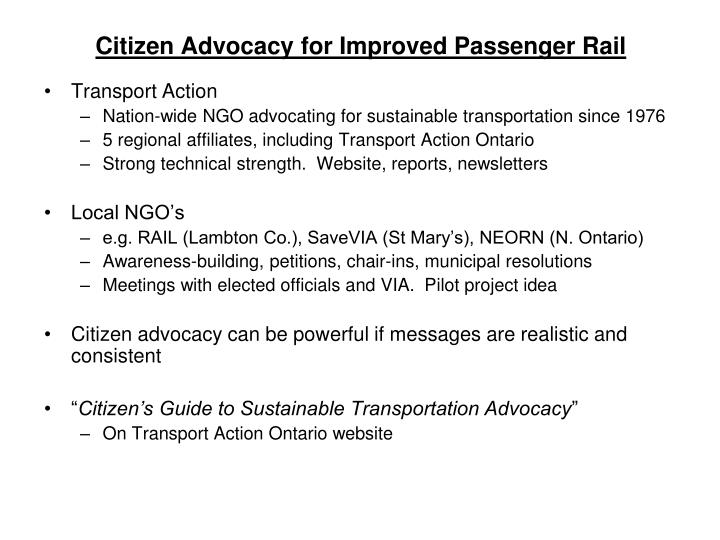 Citizen Advocacy for Improved Passenger Rail