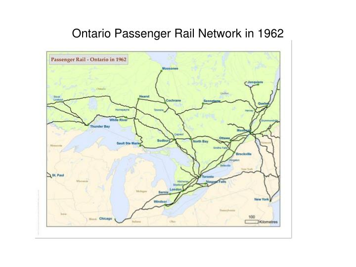 Ontario Passenger Rail Network in 1962