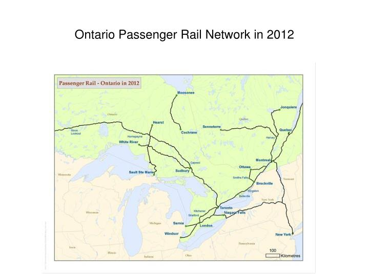 Ontario Passenger Rail Network in 2012