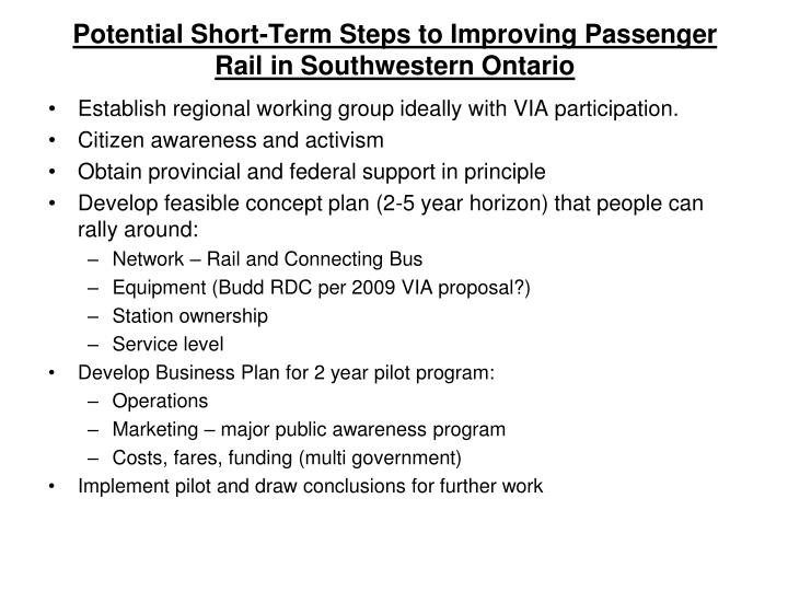 Potential Short-Term Steps to Improving Passenger Rail in Southwestern Ontario