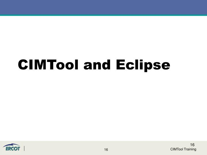 CIMTool and Eclipse