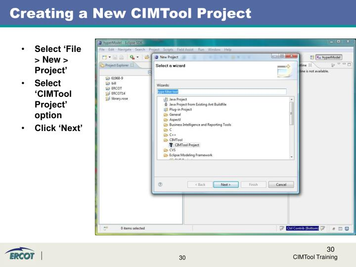 Creating a New CIMTool Project