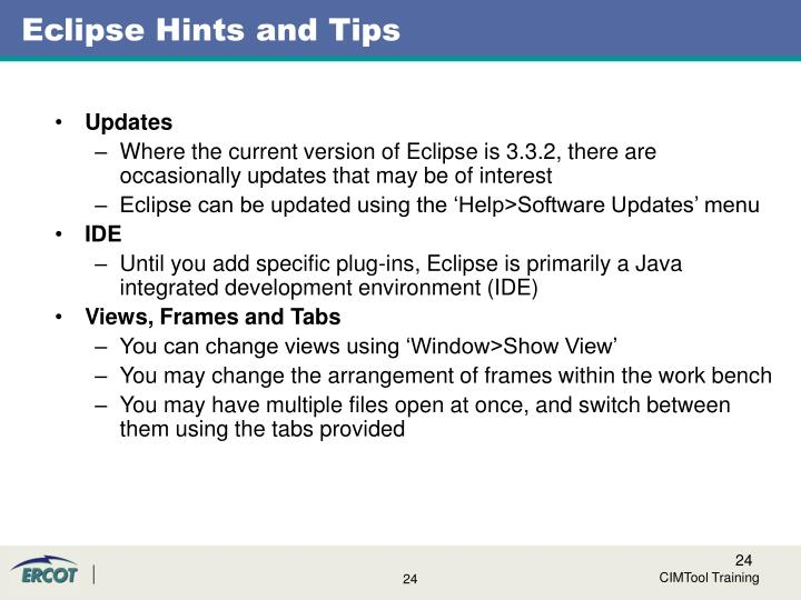 Eclipse Hints and Tips