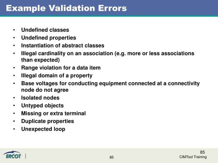 Example Validation Errors