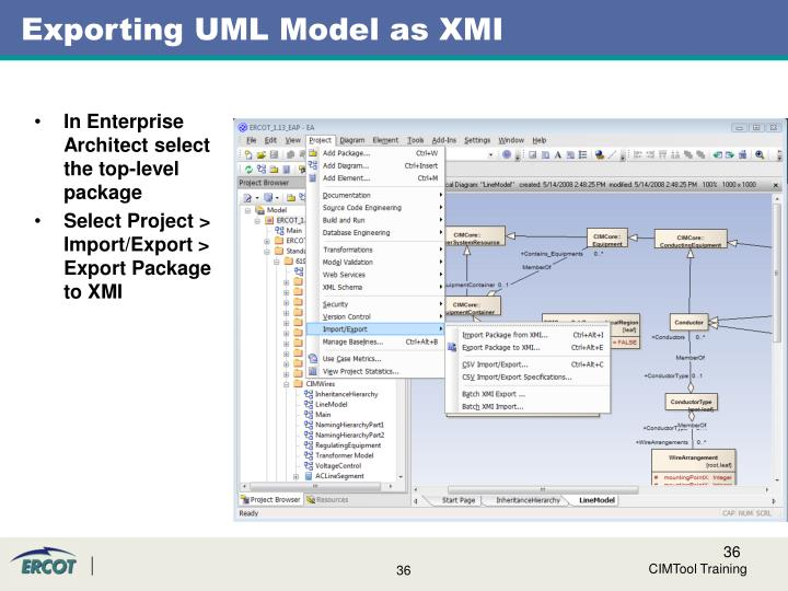 Exporting UML Model as XMI