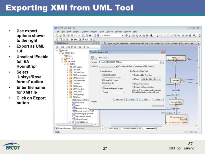 Exporting XMI from UML Tool