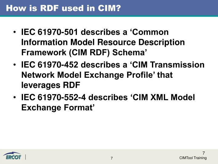 How is RDF used in CIM?