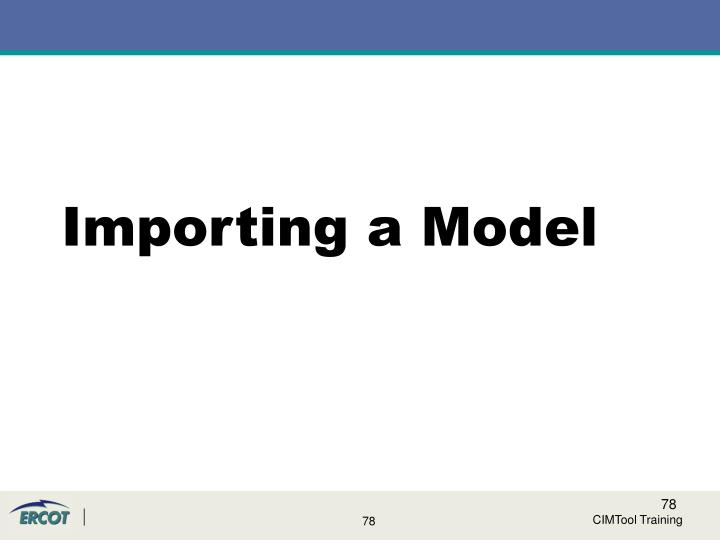 Importing a Model