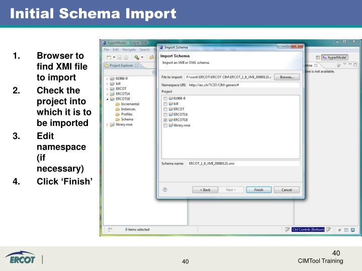 Initial Schema Import