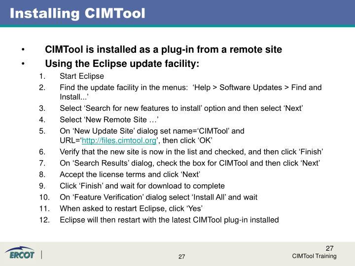Installing CIMTool