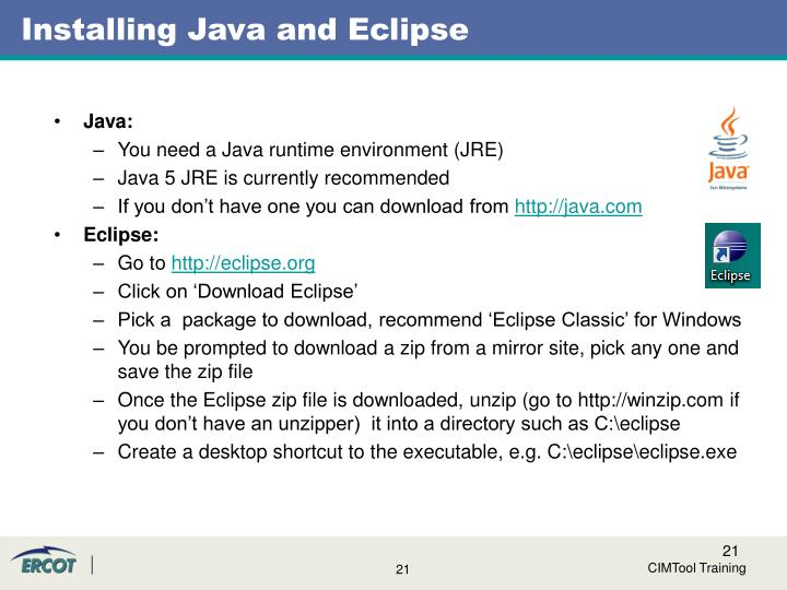 Installing Java and Eclipse