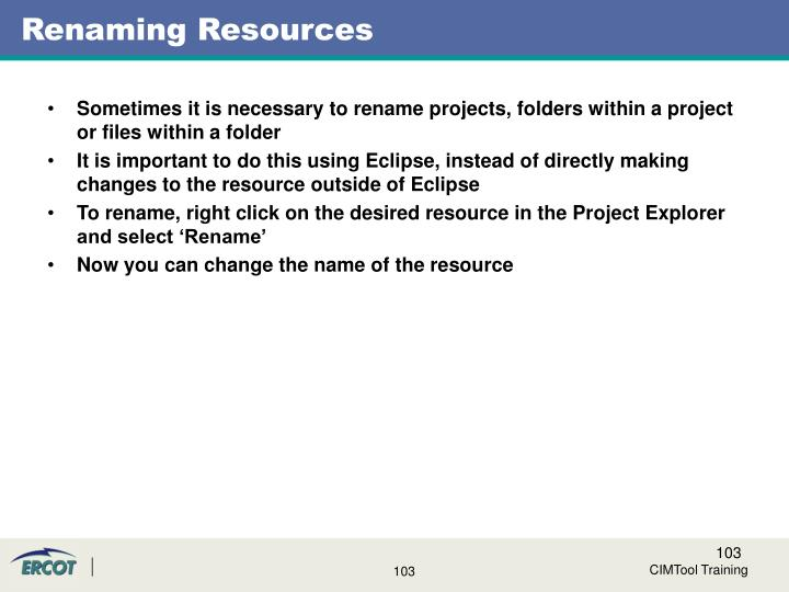 Renaming Resources