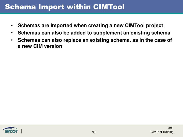 Schema Import within CIMTool