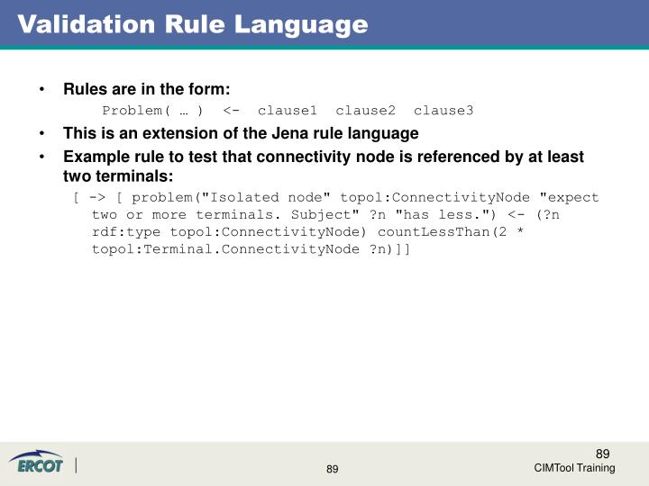 Validation Rule Language