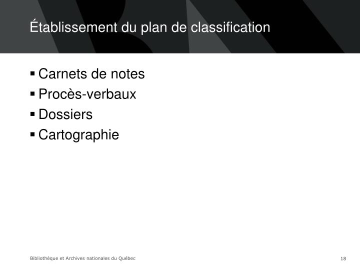 Établissement du plan de classification