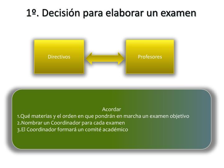 1º. Decisión para elaborar un examen