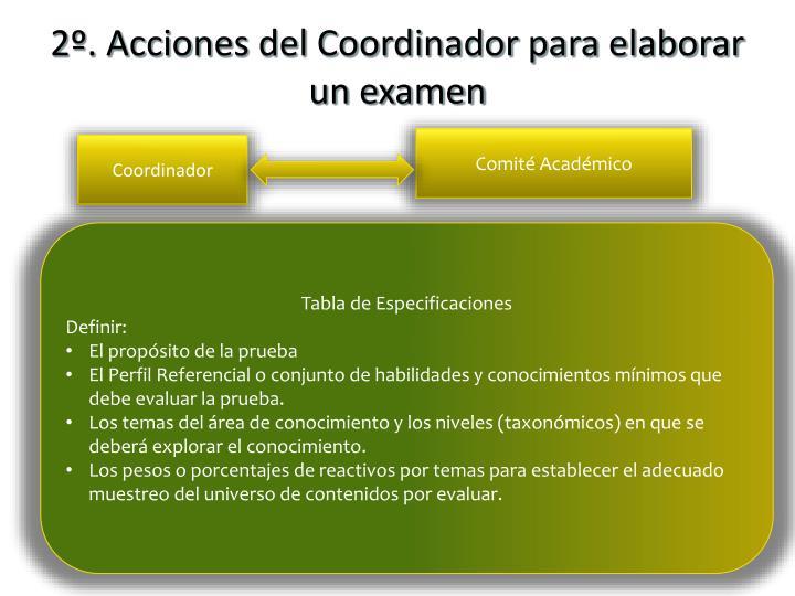 2º. Acciones del Coordinador para elaborar un examen