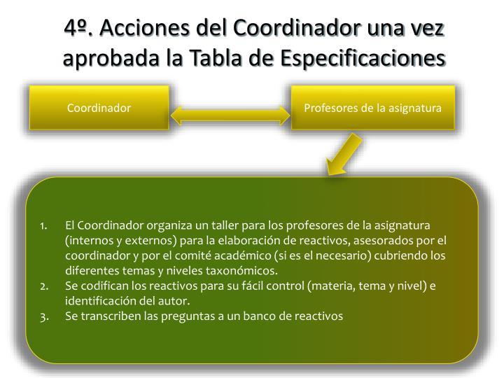 4º. Acciones del Coordinador una vez aprobada la Tabla de Especificaciones