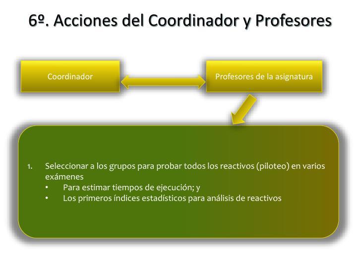 6º. Acciones del Coordinador y Profesores