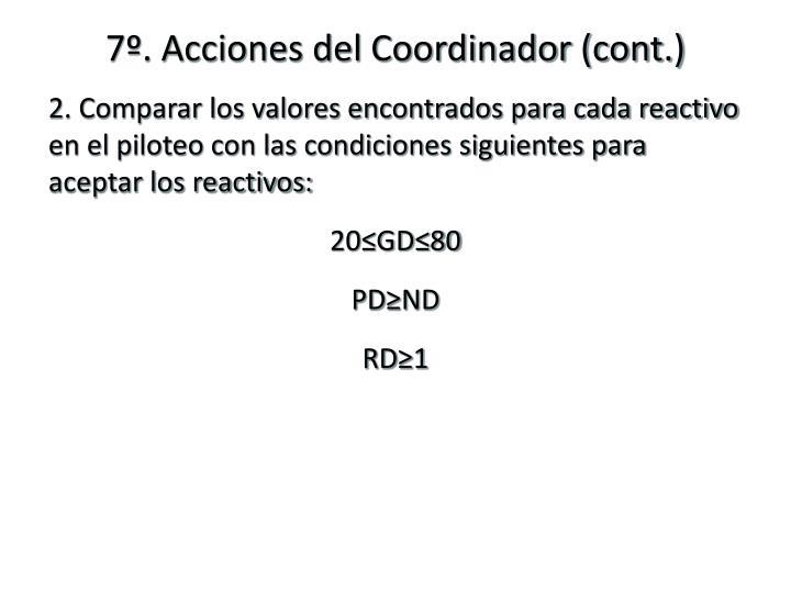 7º. Acciones del Coordinador (cont.)
