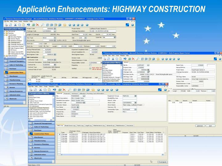 Application Enhancements: HIGHWAY CONSTRUCTION