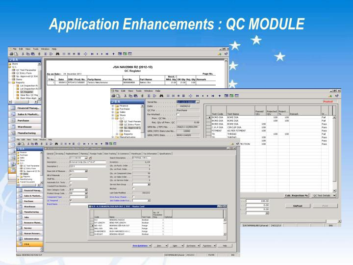 Application Enhancements : QC MODULE