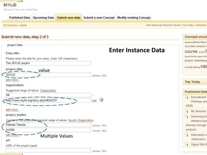 Enter Instance Data
