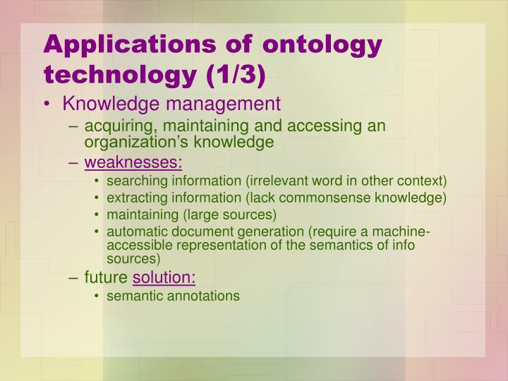 Applications of ontology technology (1/3)