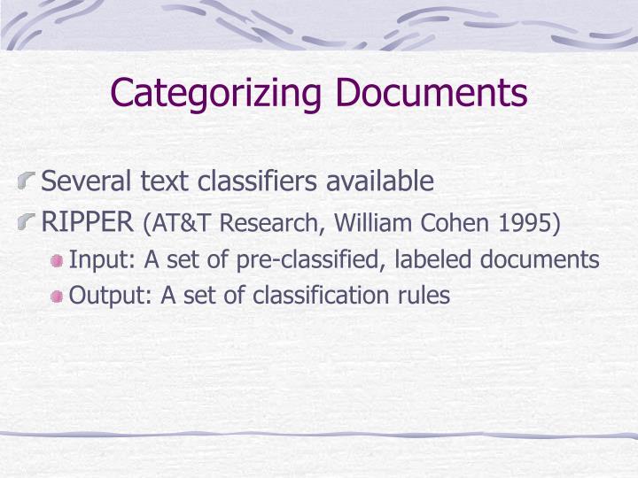 Categorizing Documents