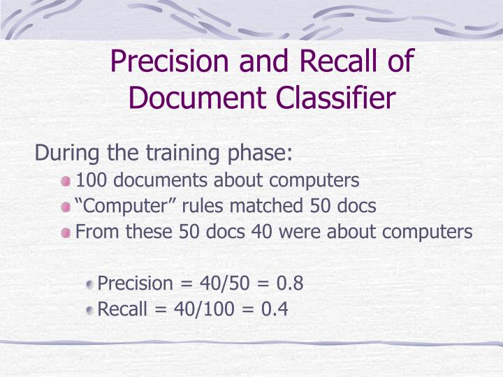 Precision and Recall of Document Classifier