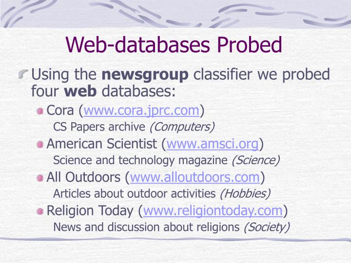 Web-databases Probed