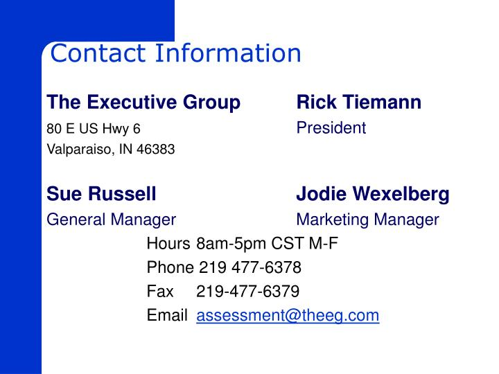 The Executive Group		Rick Tiemann