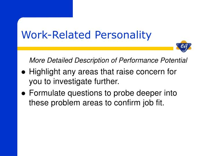 More Detailed Description of Performance Potential