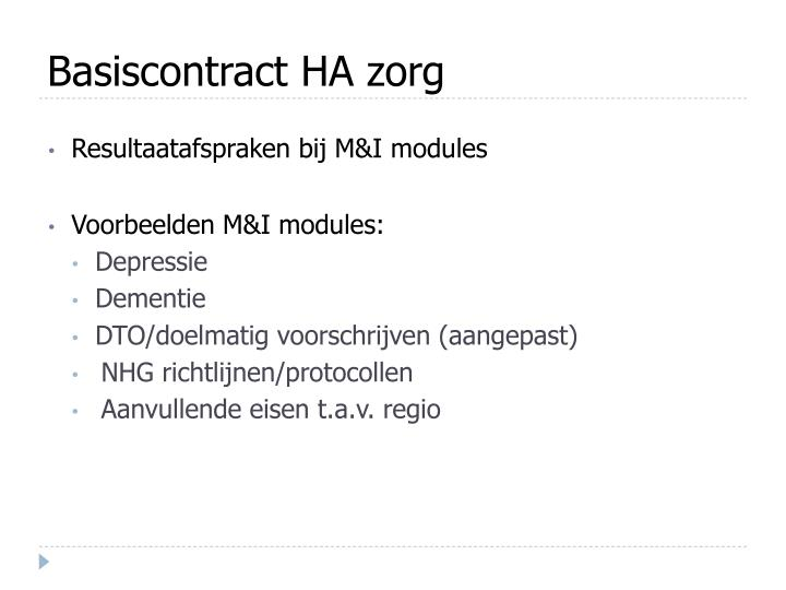 Basiscontract HA zorg