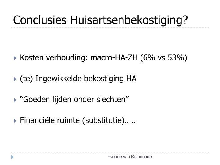 Conclusies Huisartsenbekostiging?